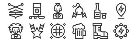 set of 12 linear rock and roll icons. thin outline Stock Illustratie