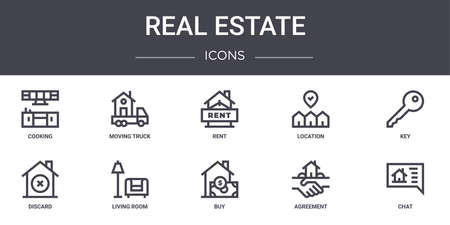 set of 10 real estate concept line icons Illusztráció
