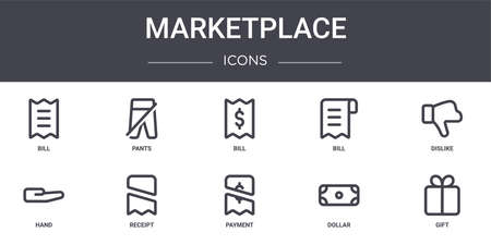 set of 10 marketplace concept line icons