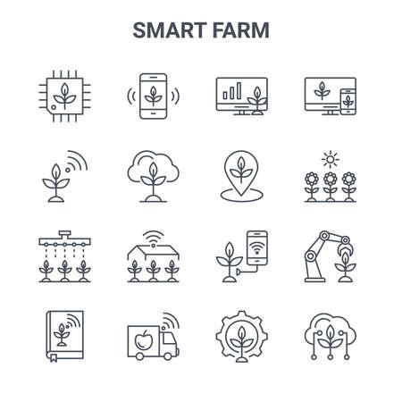 set of 16 smart farm concept vector line icons.