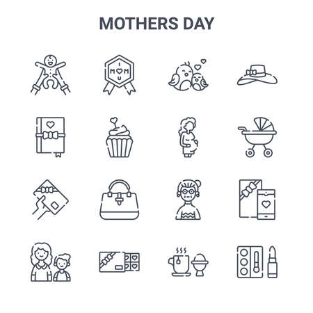 set of 16 mothers day concept vector line icons.