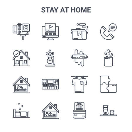 set of 16 stay at home concept vector line icons. 矢量图像