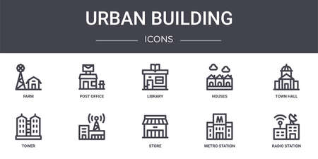 set of 10 urban building concept line icons