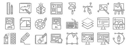 graphic design line icons. linear set. quality vector line 矢量图像