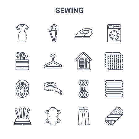 set of 16 sewing concept vector line icons. Stock Illustratie
