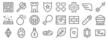 video game elements line icons. linear set. quality vector line