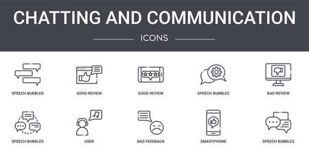 set of 10 chatting and communication concept line icons