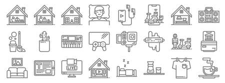 stay at home line icons. linear set. quality vector line