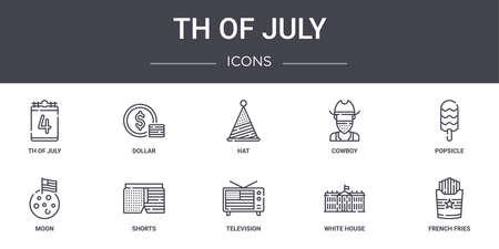 set of 10 4th of july concept line icons