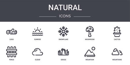 set of 10 natural concept line icons