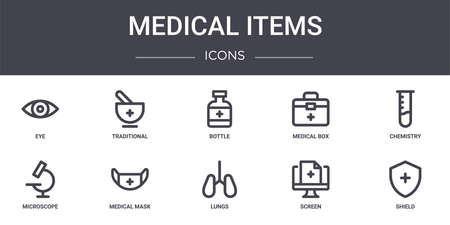 set of 10 medical items concept line icons