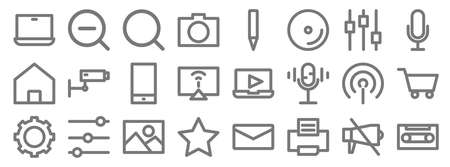 multimedia line icons. linear set. quality vector line 矢量图像