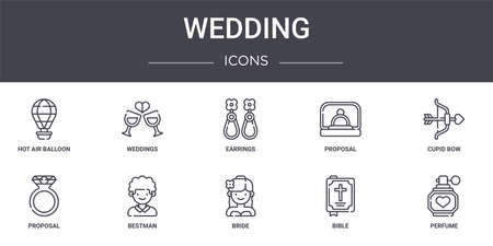 set of 10 wedding concept line icons