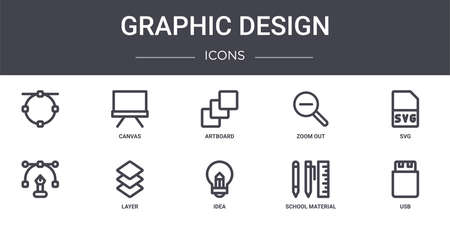 set of 10 graphic design concept line icons
