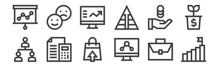 set of 12 linear marketing and growth icons. thin outline 矢量图像