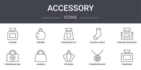 set of 10 accessory concept line icons