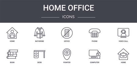 set of 10 home office concept line icons