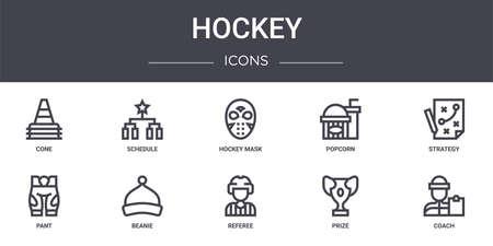 set of 10 hockey concept line icons