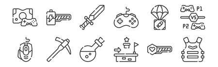 set of 12 linear videogame icons. thin outline 矢量图像