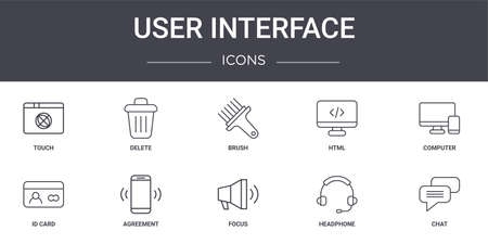 set of 10 user interface concept line icons