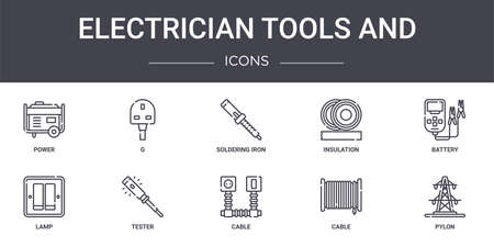 set of 10 electrician tools and concept line icons