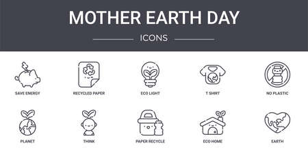 set of 10 mother earth day concept line icons