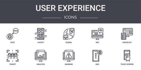 set of 10 user experience concept line icons Ilustração