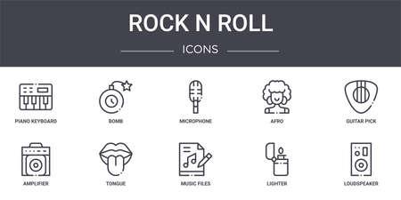 set of 10 rock and roll concept line icons Ilustração