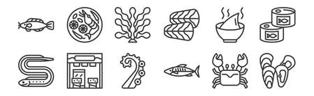 set of 12 linear seafood icons. thin outline  イラスト・ベクター素材