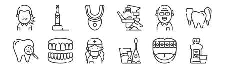 set of 12 linear dental care icons. thin outline