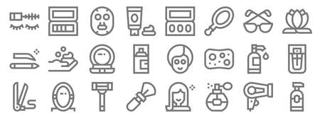 beauty line icons. linear set. quality vector line