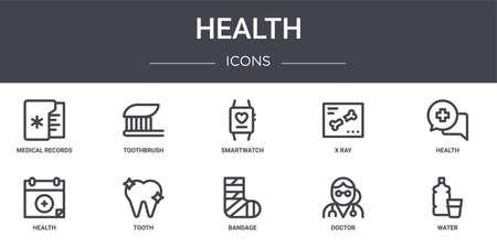 set of 10 health concept line icons Ilustração