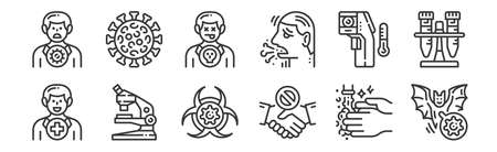 12 set of linear virus transmission icons. thin outline