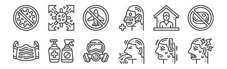 set of 12 linear virus transmission icons. thin outline
