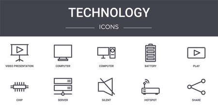 set of 10 technology concept line icons