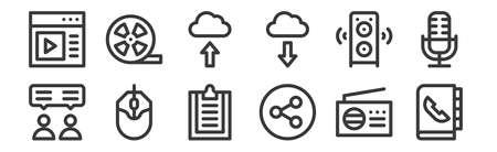 set of 12 linear communication and media icons. thin outline Ilustração