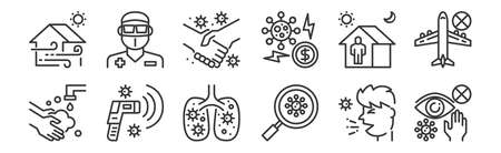 set of 12 linear coronavirus icons. thin outline