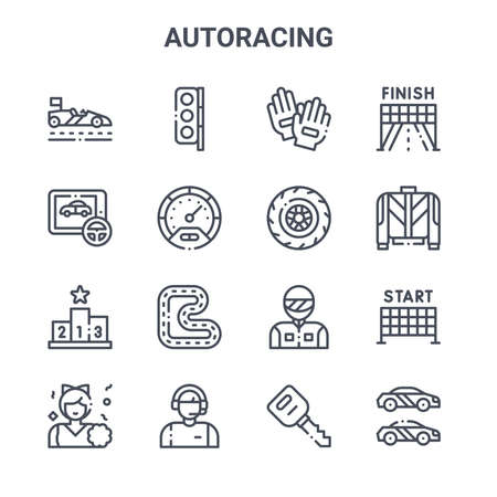 set of 16 autoracing concept vector line icons.