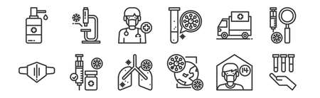 set of 12 linear virus icons. thin outline