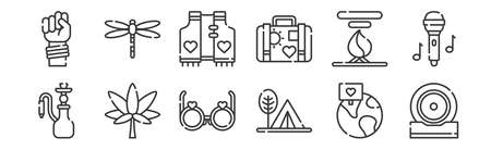 set of 12 linear hippies icons. thin outline