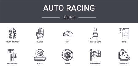 set of 10 auto racing concept line icons