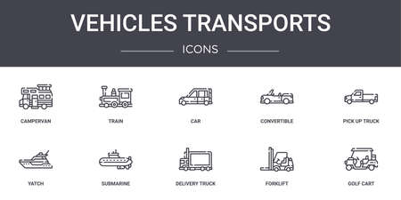 set of 10 vehicles transports concept line icons