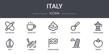 set of 10 italy concept line icons Vectores