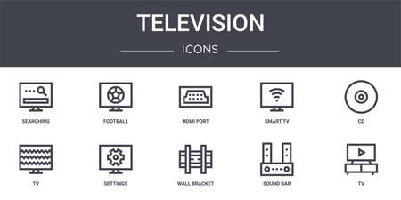 set of 10 television concept line icons