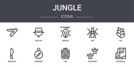 set of 10 jungle concept line icons Vektorové ilustrace