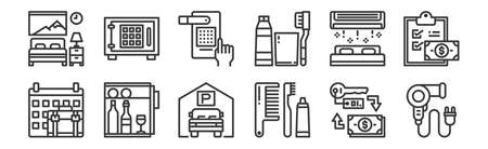 set of 12 linear hotel icons. thin outline