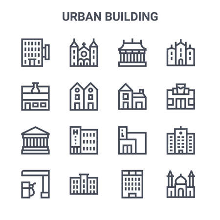 set of 16 urban building concept vector line icons.