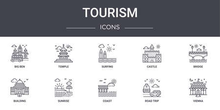 set of 10 tourism concept line icons