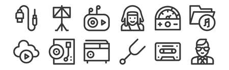 set of 12 linear music icons. thin outline Illustration