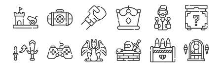 set of 12 linear videogame icons. thin outline Illustration